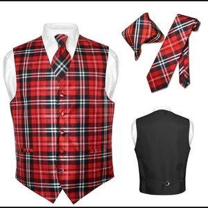 Men's Plaid Dress Vest NeckTie for Suit Tux Red